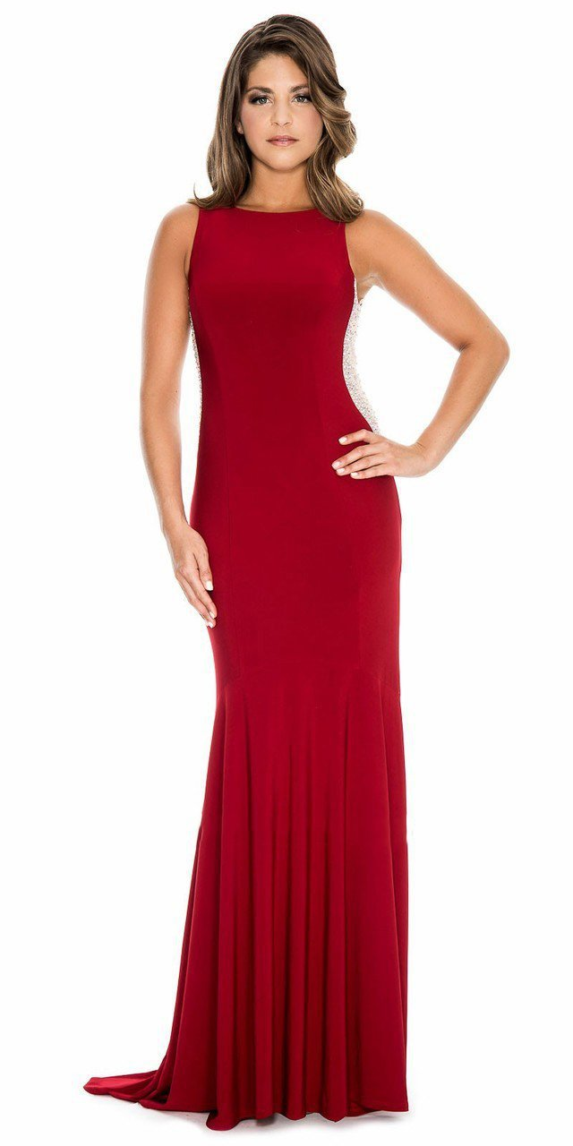 Decode 1.8 - 183874 Side Embellished Bateau Fitted Dress in Red