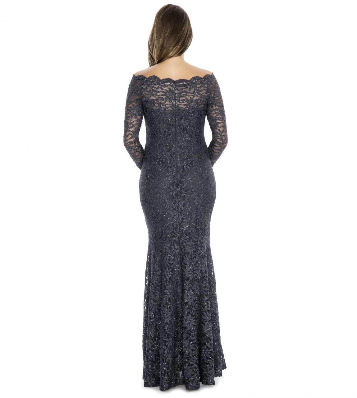Decode 1.8 - Off-Shoulder Lace Long Dress in Gray