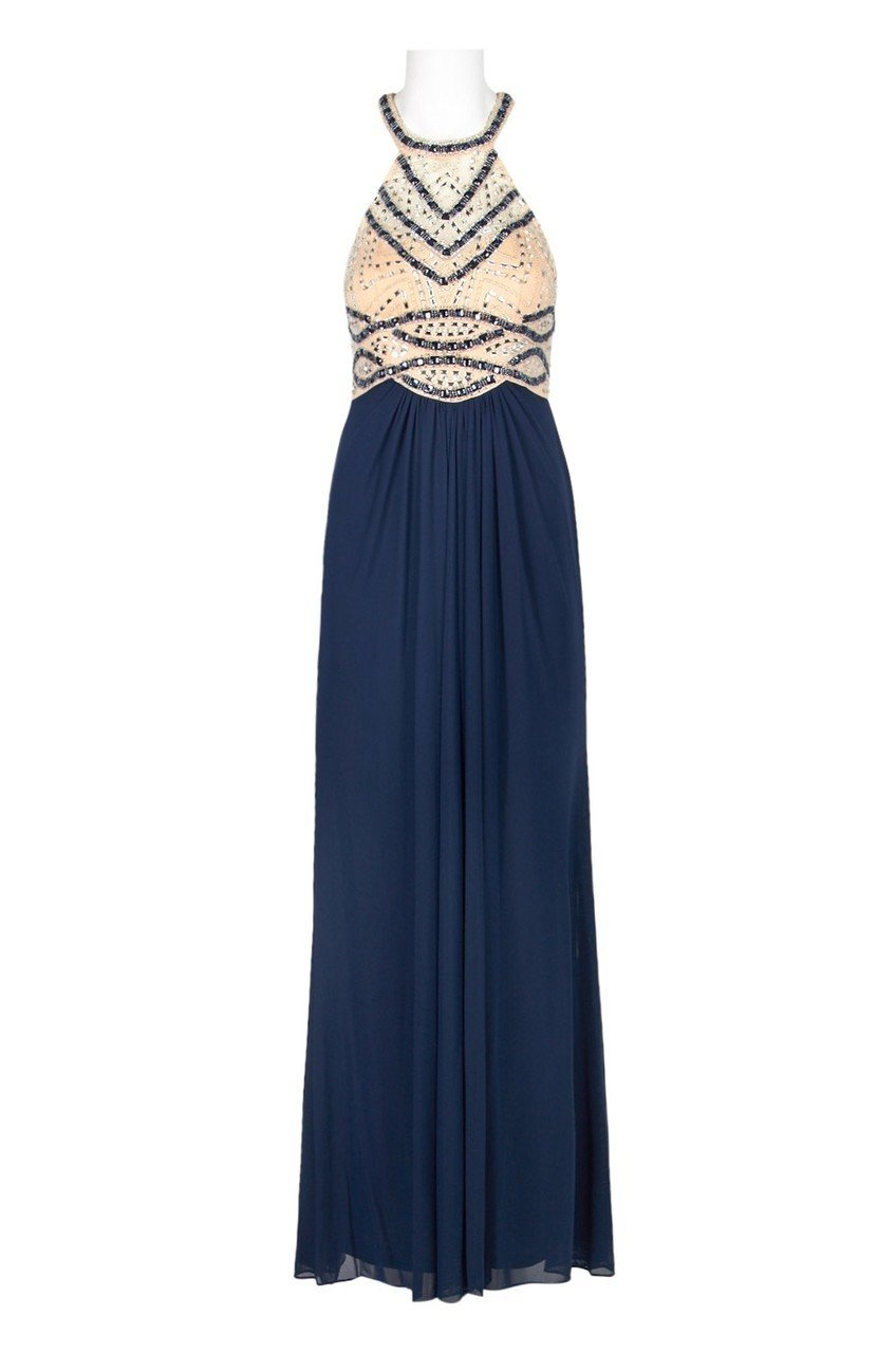 Decode - 183986 Bead Embellished Halter Neck Evening Dress in Blue and Neutral