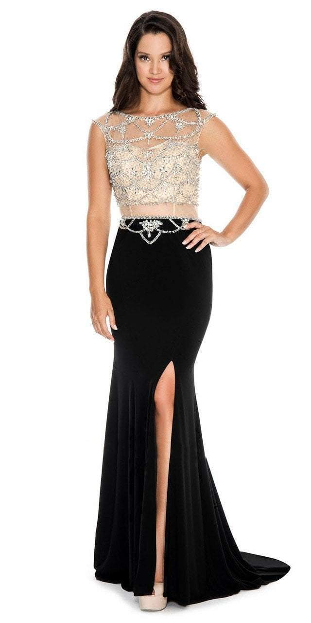 Decode 1.8 - 184060 Dazzling Illusion Cage Embellished Evening Dress in Black and Neutral