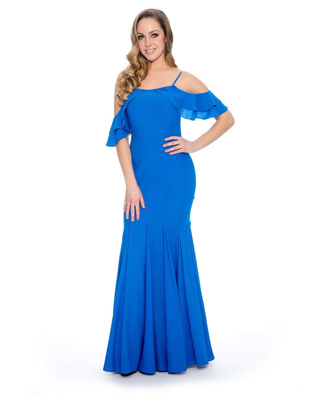 Decode 1.8 - 184081 Strappy Cold Shoulder Mermaid Dress in Blue
