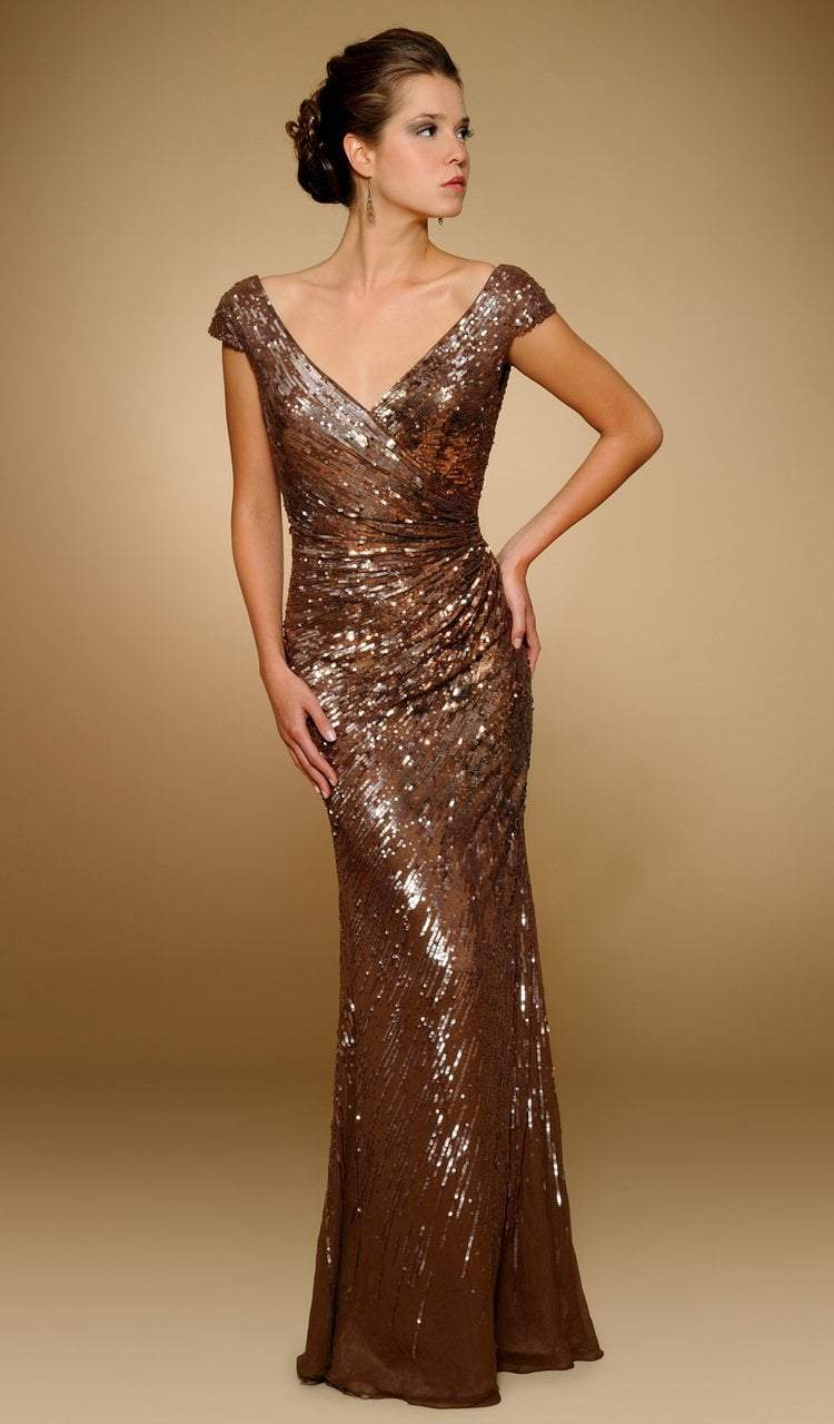 Rina Di Montella - RD1841 Sequined Wide V-neck Chiffon Sheath Gown in Brown