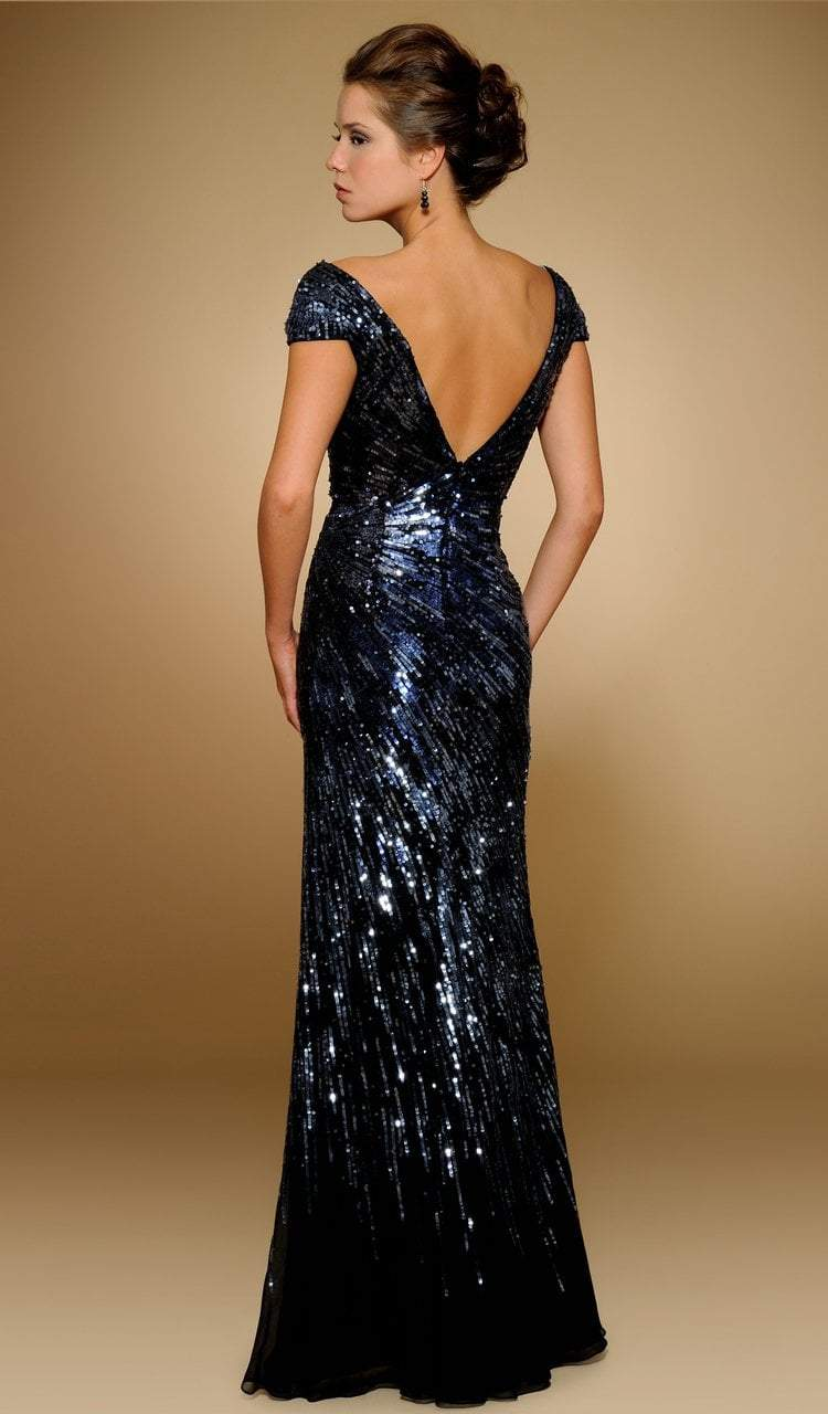 Rina Di Montella - RD1841 Sequined Wide V-neck Chiffon Sheath Gown in Blue