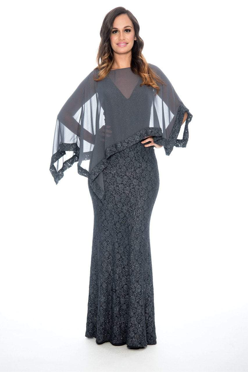 Decode 1.8 - 184212 Sheer Cape Embroidered Evening Dress in Gray