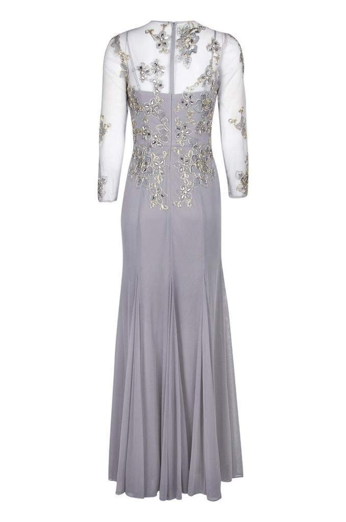 Decode 1.8 - Floral Embroidered V-Neck Trumpet Gown 184244 In Silver