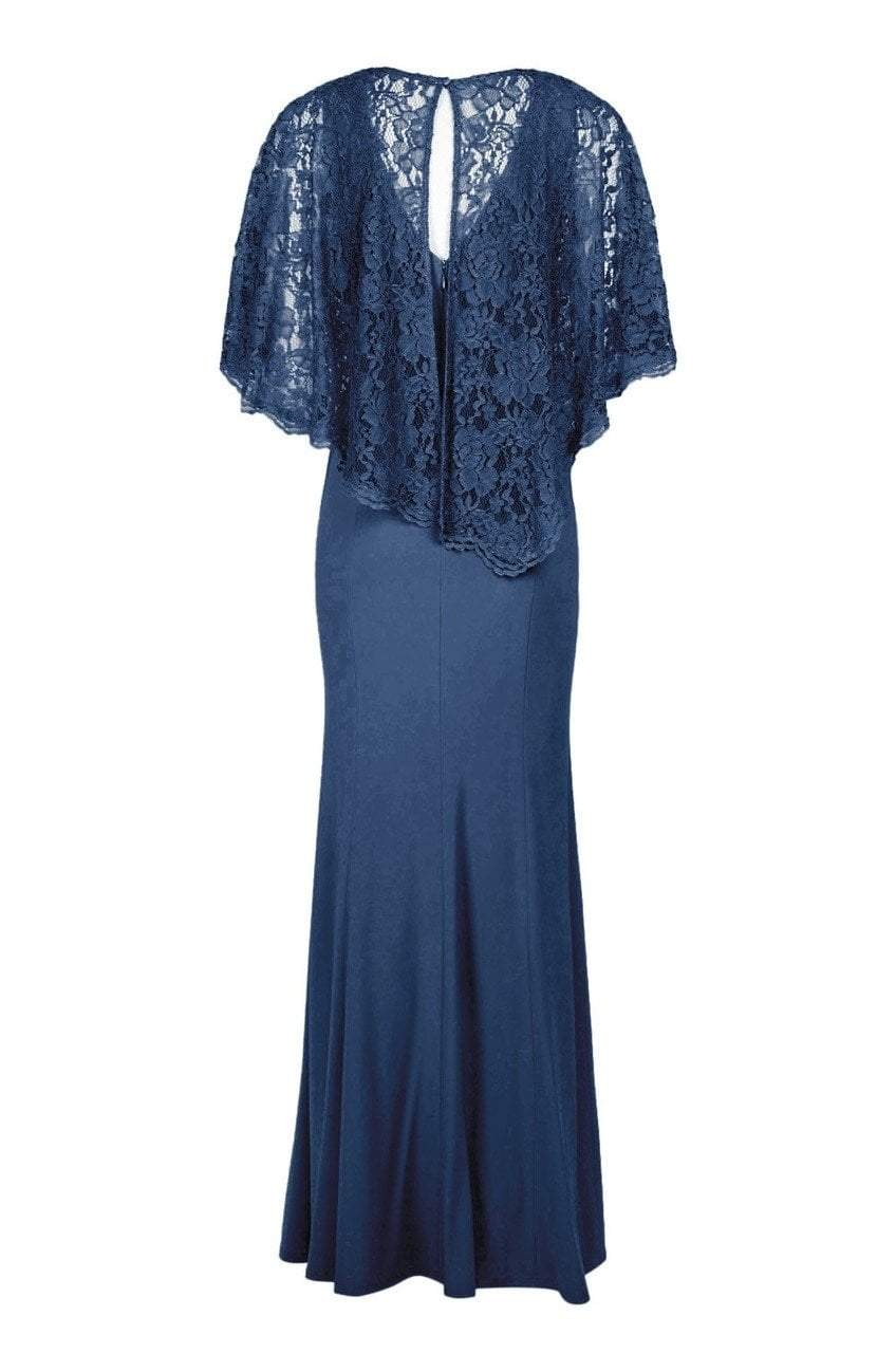 Decode - 184553 Jersey Knit Long Gown with Lace Cape in Blue