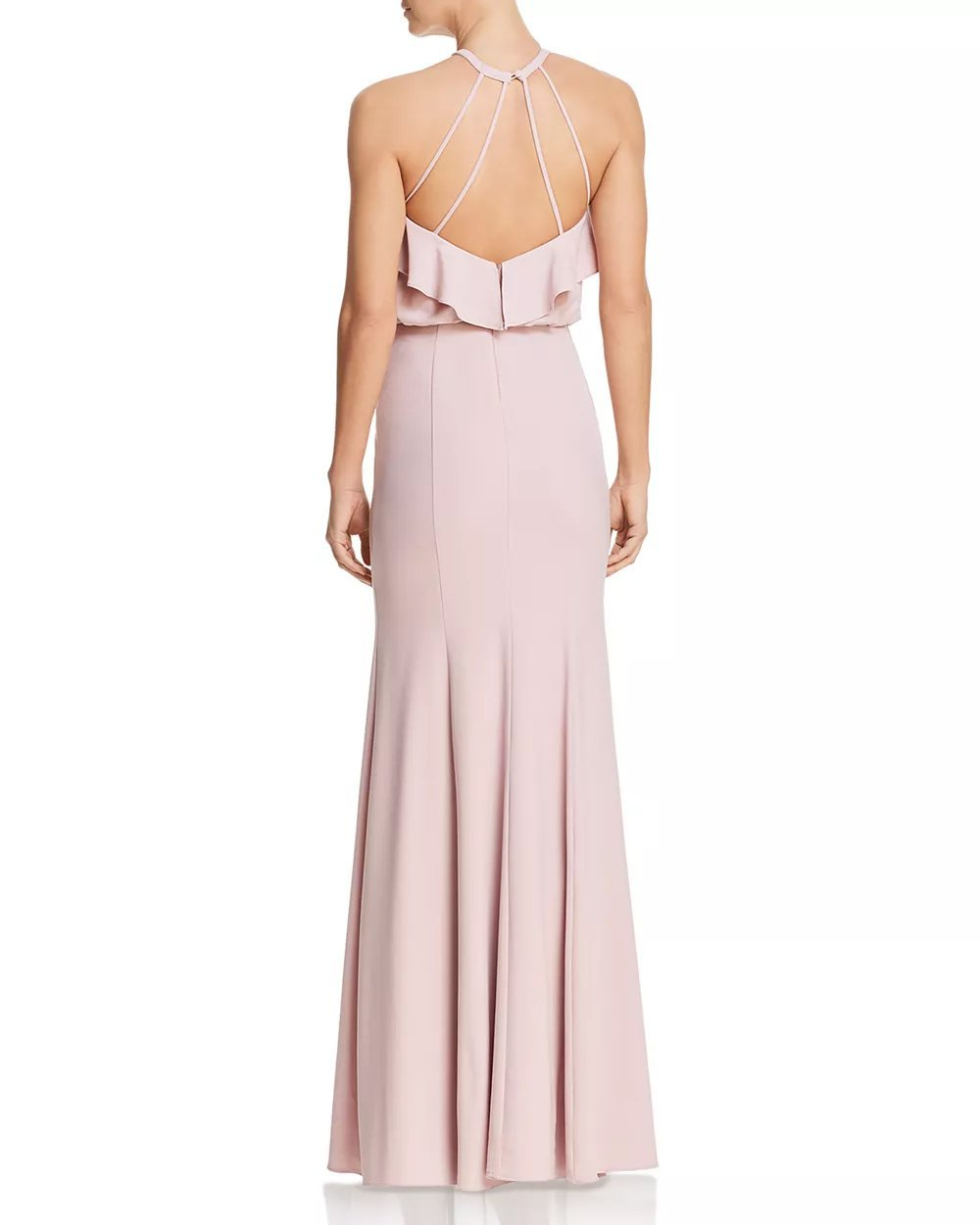 Decode 1.8 - 184609 Tiered Flounce Long Halter Dress In Pink