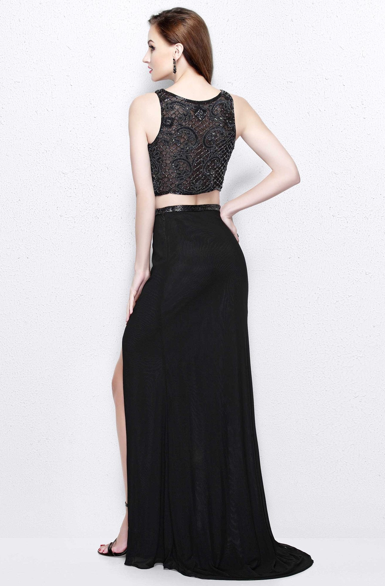 Primavera Couture - Two Piece Sleeveless Long Gown with Slit 1846 in Black