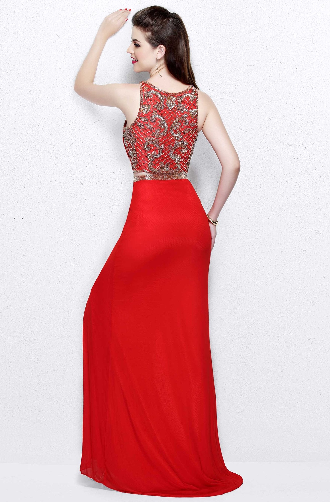 Primavera Couture - Two Piece Sleeveless Long Gown with Slit 1846 in Red