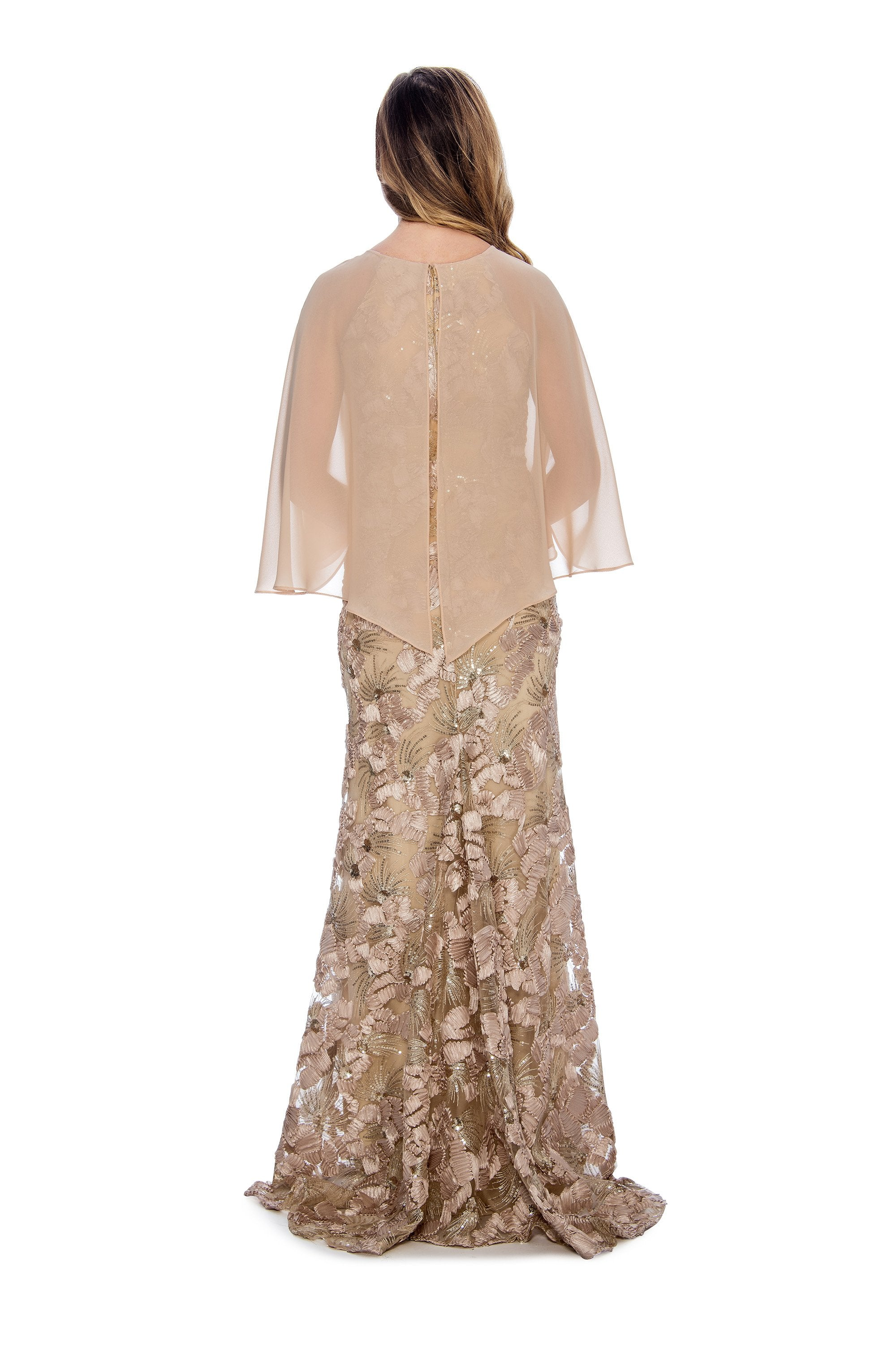 Decode - 184730 Cape Overlay Soutache Long Dress In Neutral