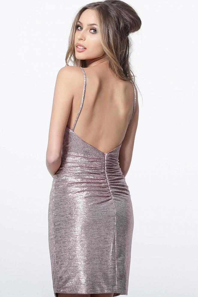 Jovani - 1851 Plunging V-neck Pleated Sheath Dress In Pink