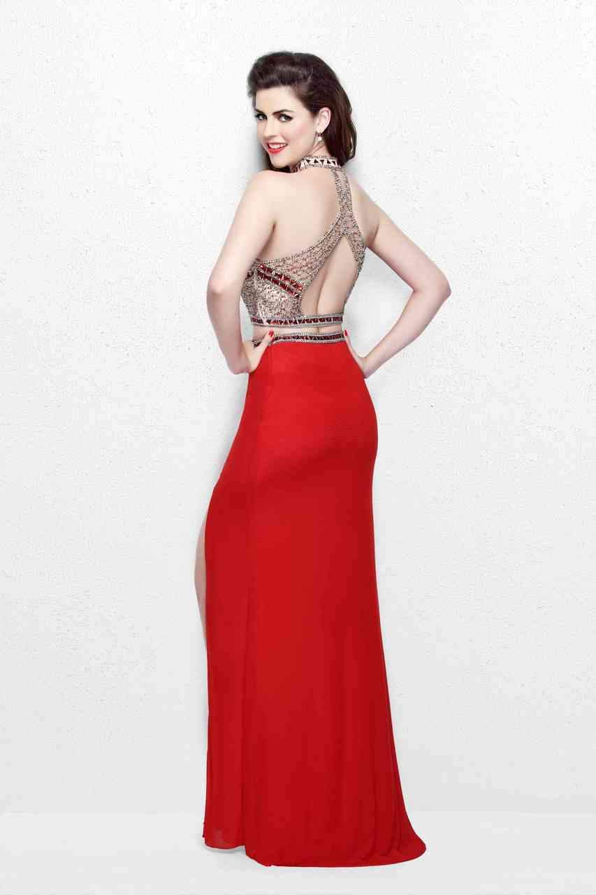 Primavera Couture - Gorgeous High Illusion Two-Piece Sheath Gown 1857 in Neutral and Red