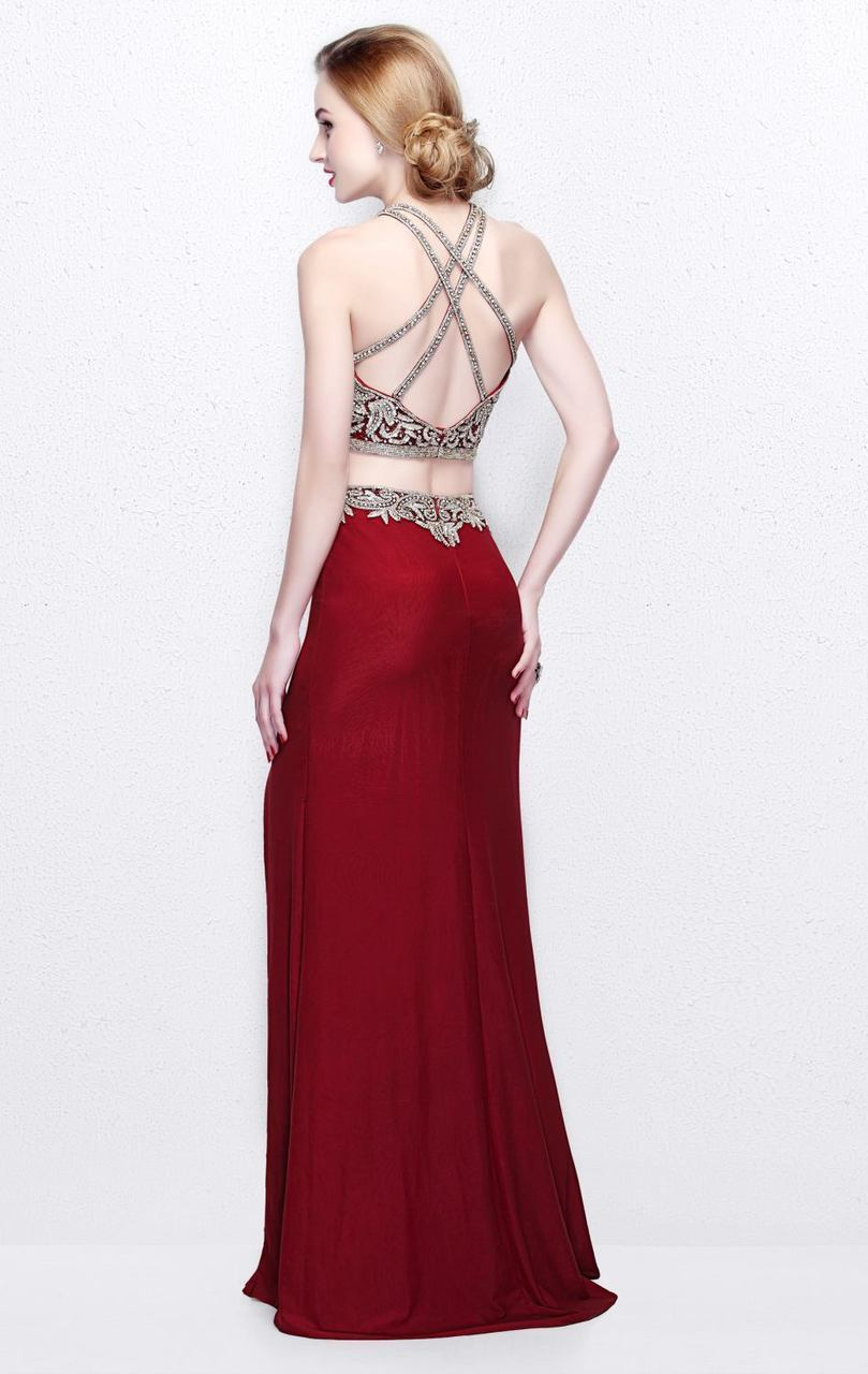 Primavera Couture - Two Piece Halter Long Dress with Slit 1863 in Red
