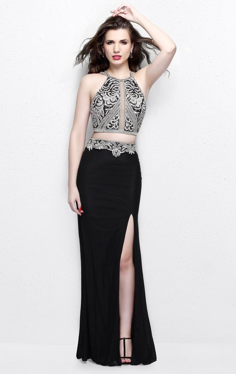 Primavera Couture - Two Piece Halter Long Dress with Slit 1863 in Black