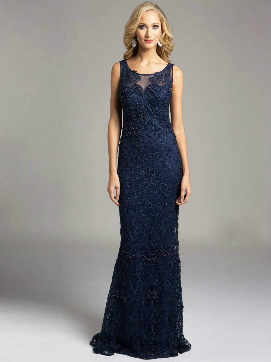 Lara Dresses - Sheer Bateau Illusion Sheath Evening Gown with Faux Pearls and Lace Appliques 33227, Blue