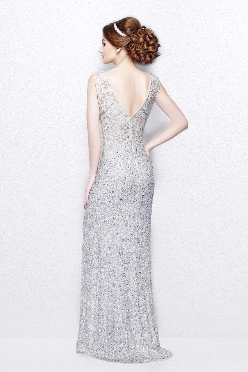 Primavera Couture - Shimmering Lace Bateau Cap Sleeve Sheath Gown 1877 in White
