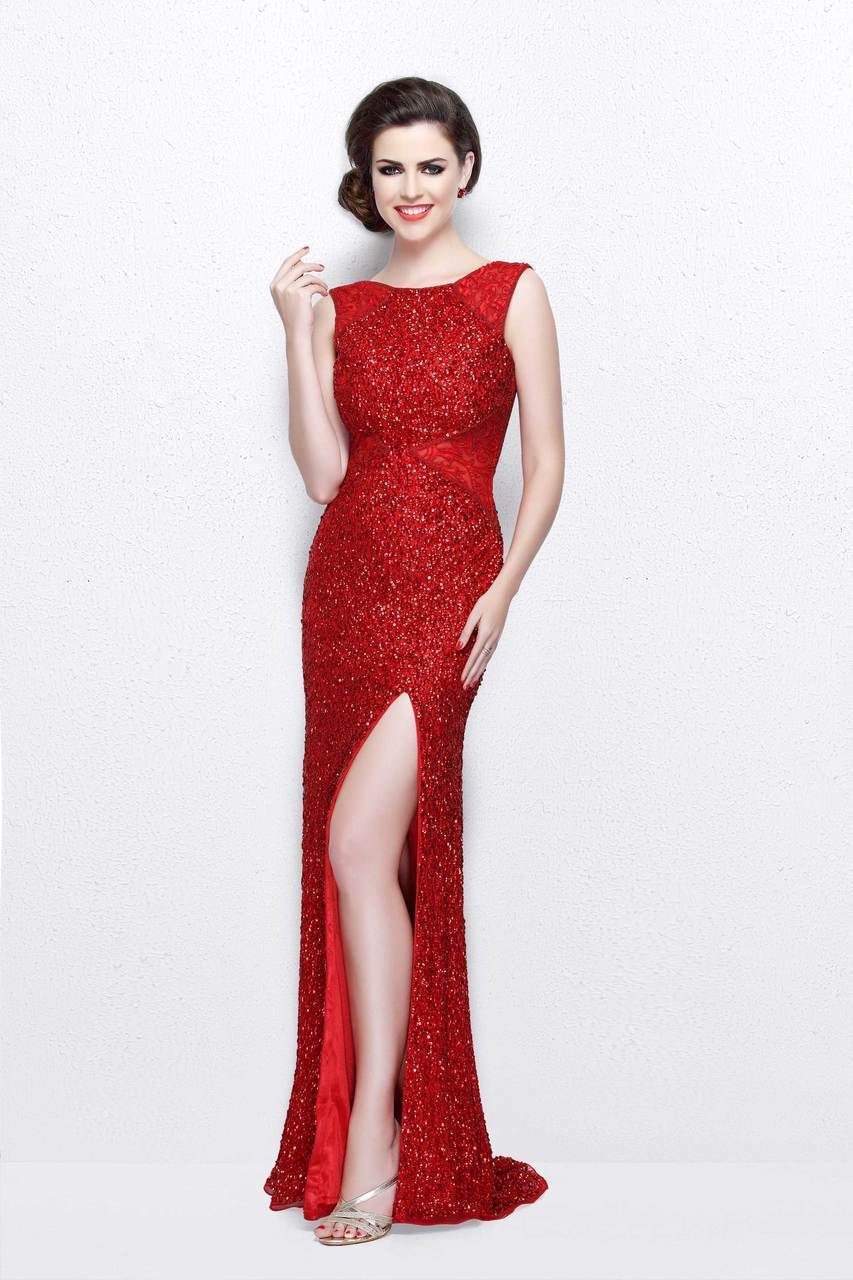 Primavera Couture - Shimmering Lace Bateau Cap Sleeve Sheath Gown 1877 in Red