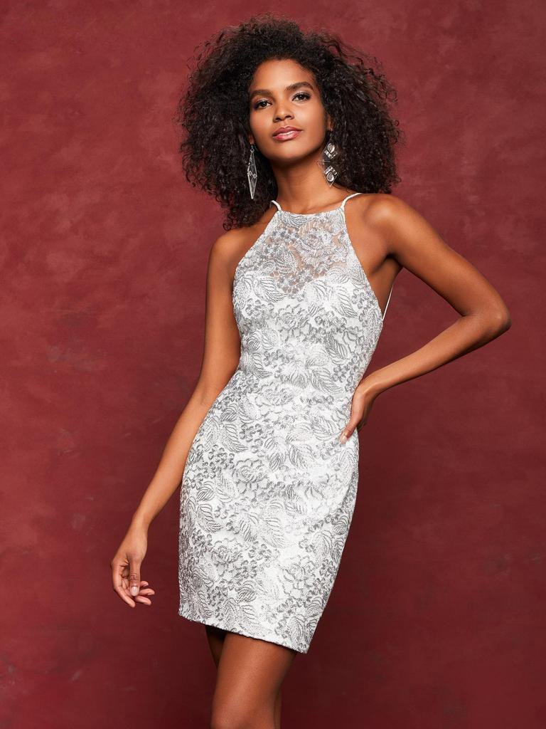 Clarisse - 3675 Metallic Lace Halter Sheath Cocktail Dress Silver