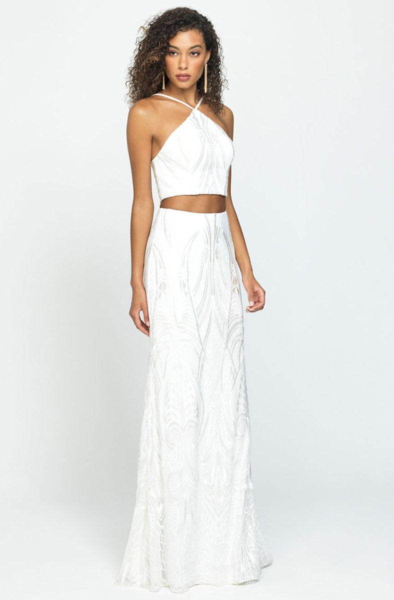 Madison James - 19-128 Two-Piece Embroidered Halter Sheath Gown In White