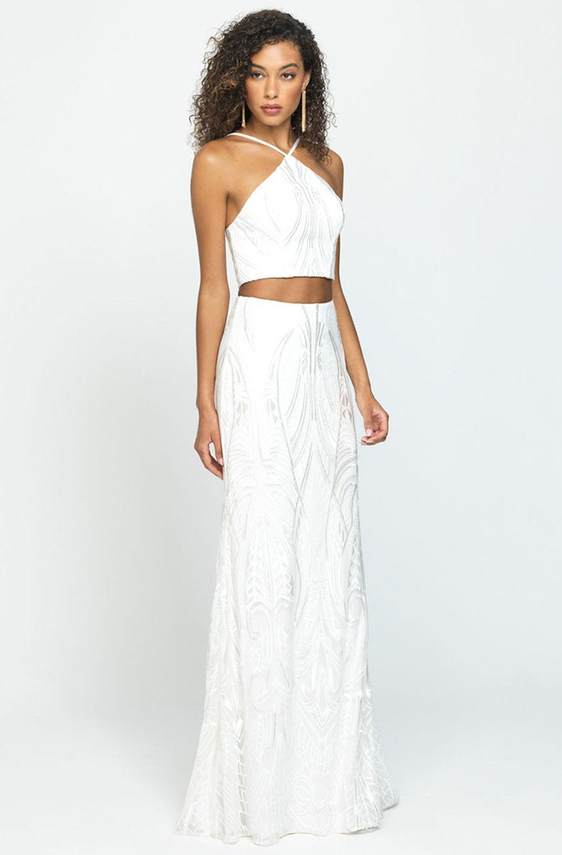 Madison James - Two-Piece Embroidered Halter Sheath Gown 19-128 In White