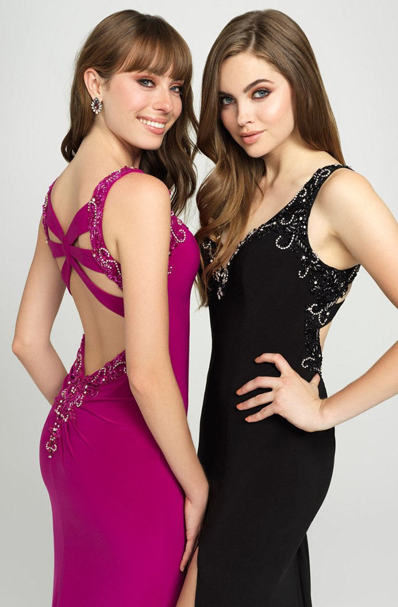 Madison James - 19-150 Beaded Plunging V-Neck High Slit Gown In Black and Pink