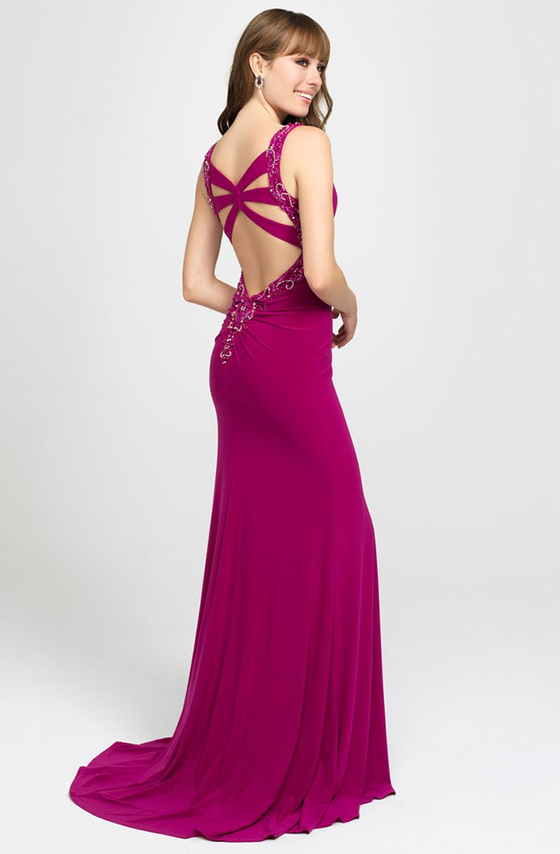 Madison James - 19-150 Beaded Plunging V-Neck High Slit Gown In Pink