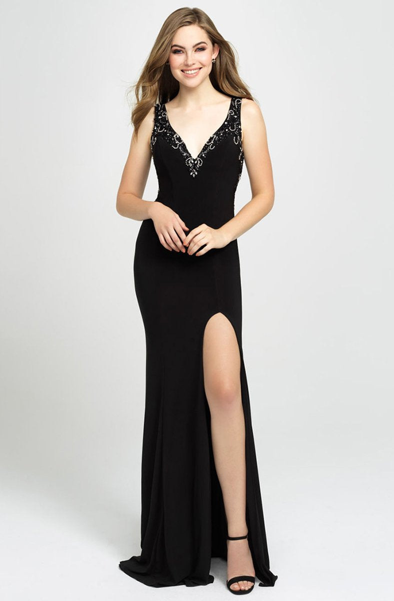 Madison James - 19-150 Beaded Plunging V-Neck High Slit Gown In Black