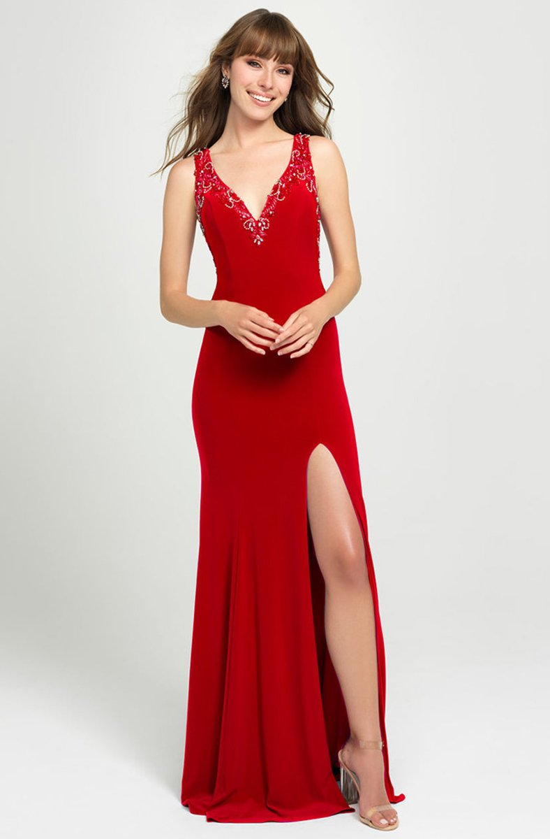 Madison James - 19-150 Beaded Plunging V-Neck High Slit Gown In Red