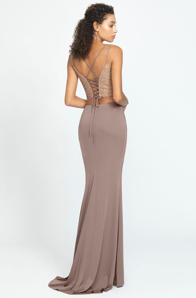 Madison James - Two Piece Beaded Jersey Trumpet Dress 19-167 In Brown
