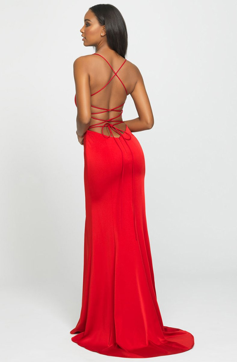 Madison James - 19-185SC Lace Up Back High Slit Sheath Dress