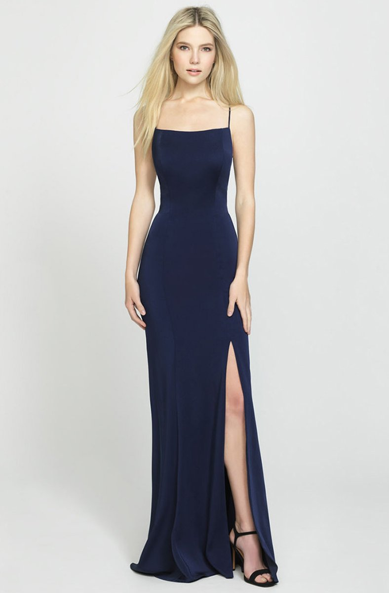 Madison James - Crisscross Strapped Backless Dress with Slit 19-185 In Blue