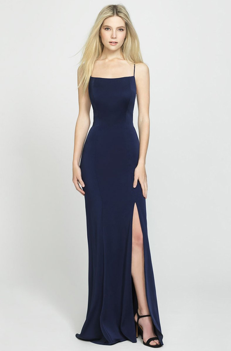 Madison James - 19-185 Crisscross Strapped Backless High Slit Gown In Blue