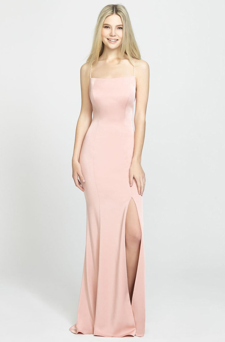 Madison James - 19-185 Crisscross Strapped Backless High Slit Gown In Pink