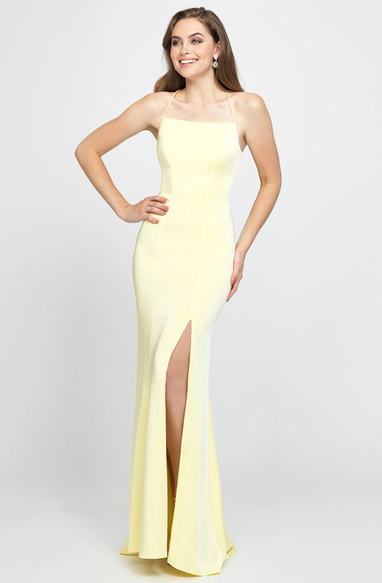 Madison James - Crisscross Strapped Backless Dress with Slit 19-185 In Yellow