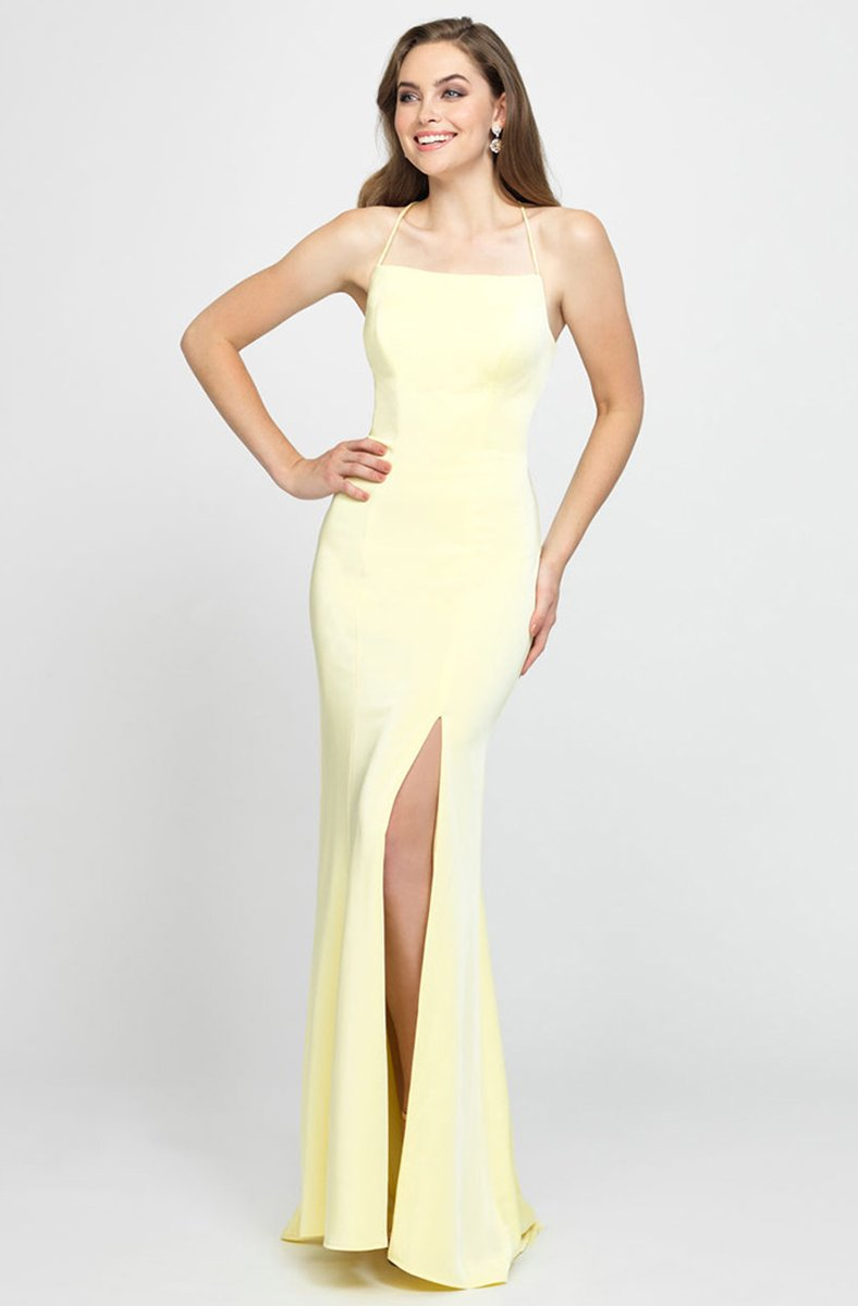 Madison James - 19-185 Crisscross Strapped Backless High Slit Gown In Yellow