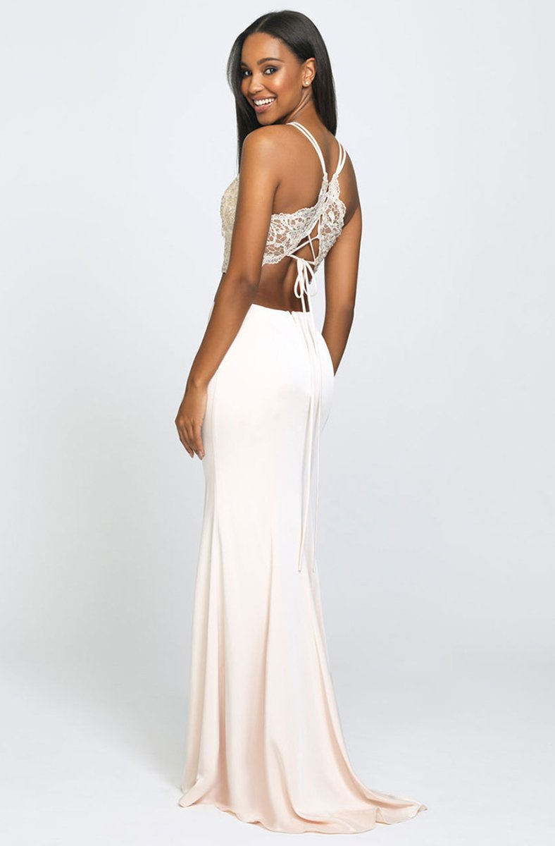 Madison James - Two-Piece Beaded Illusion Halter Gown with Slit 19-201 In Neutral