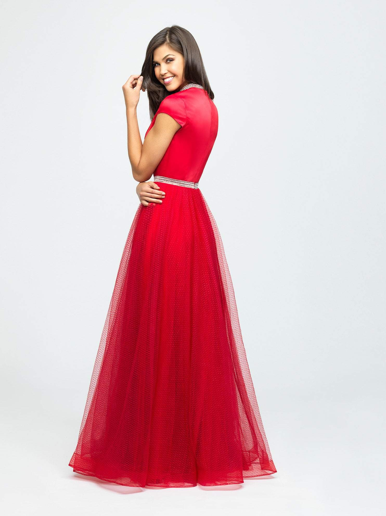 Madison James - 19-255M Satin High Neck Dotted Swiss Tulle Aline Dress In Red