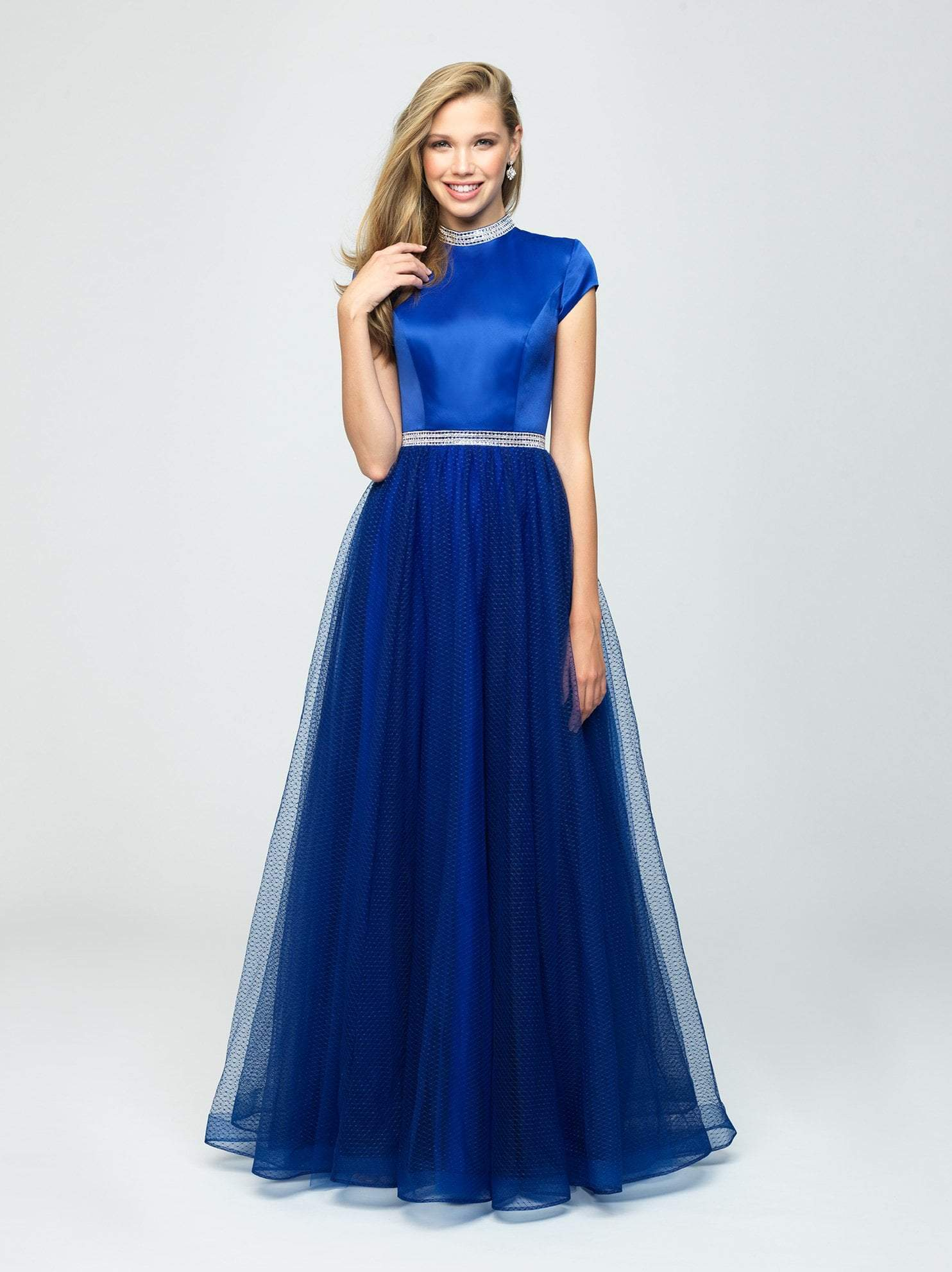 Madison James - 19-255M Satin High Neck Dotted Swiss Tulle Aline Dress In Blue