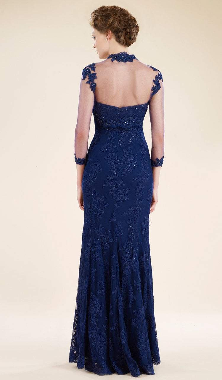 Rina Di Montella - RD1911 Lace Trumpet Gown with Sheer Bolero Jacket in Blue