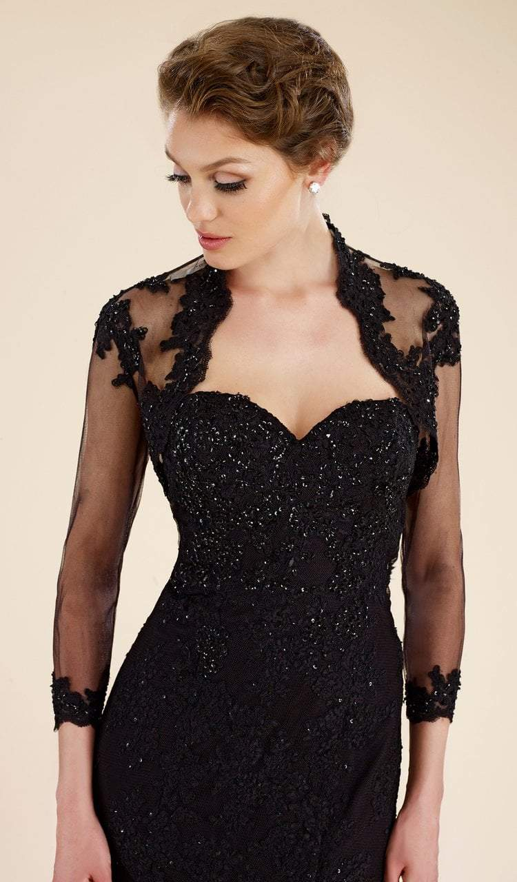 Rina Di Montella - RD1911 Lace Trumpet Gown with Sheer Bolero Jacket in Black