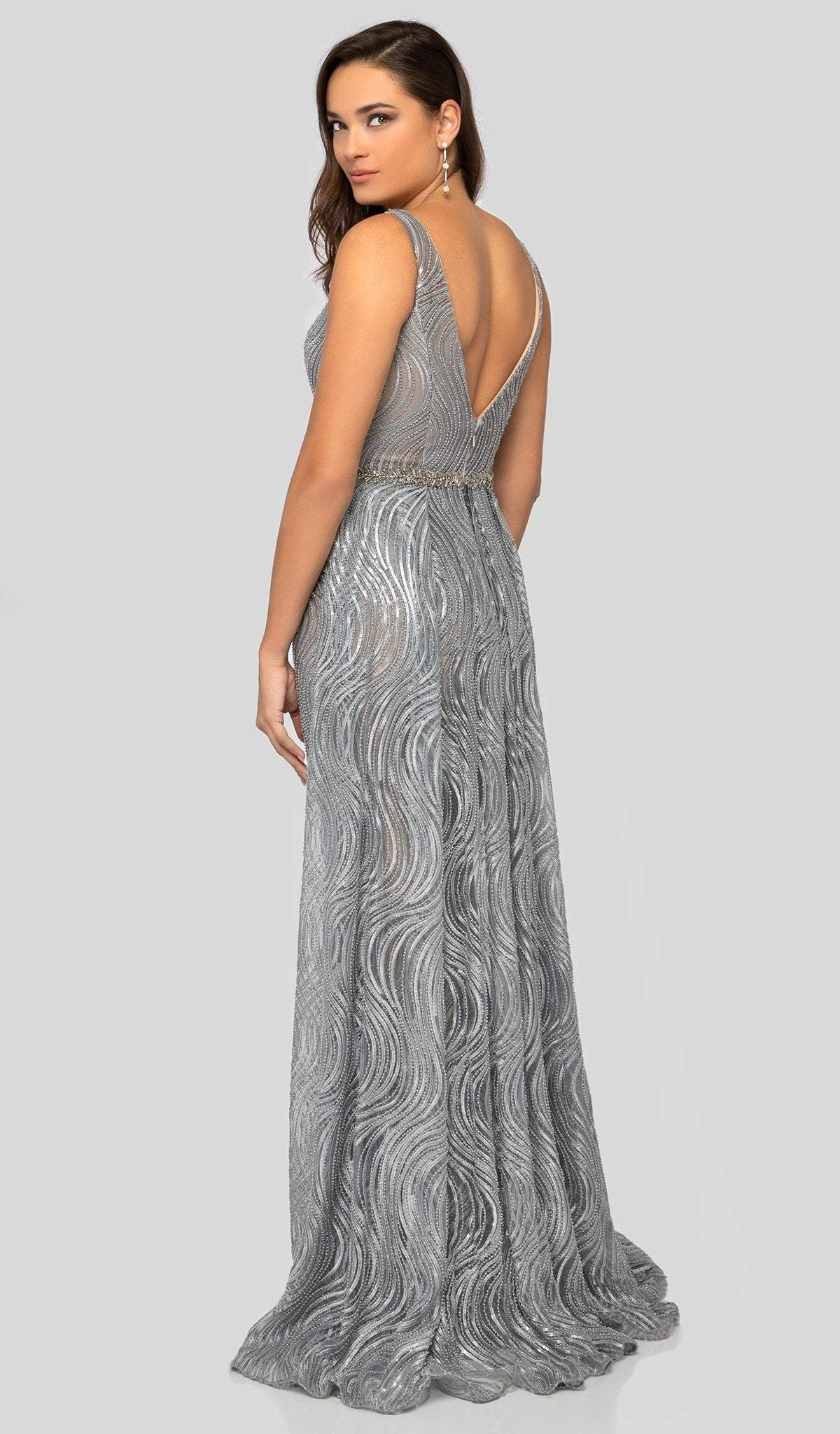 Terani Couture - 1911E9113 Sequined V Neck Gown with Overskirt In Silver and Neutral