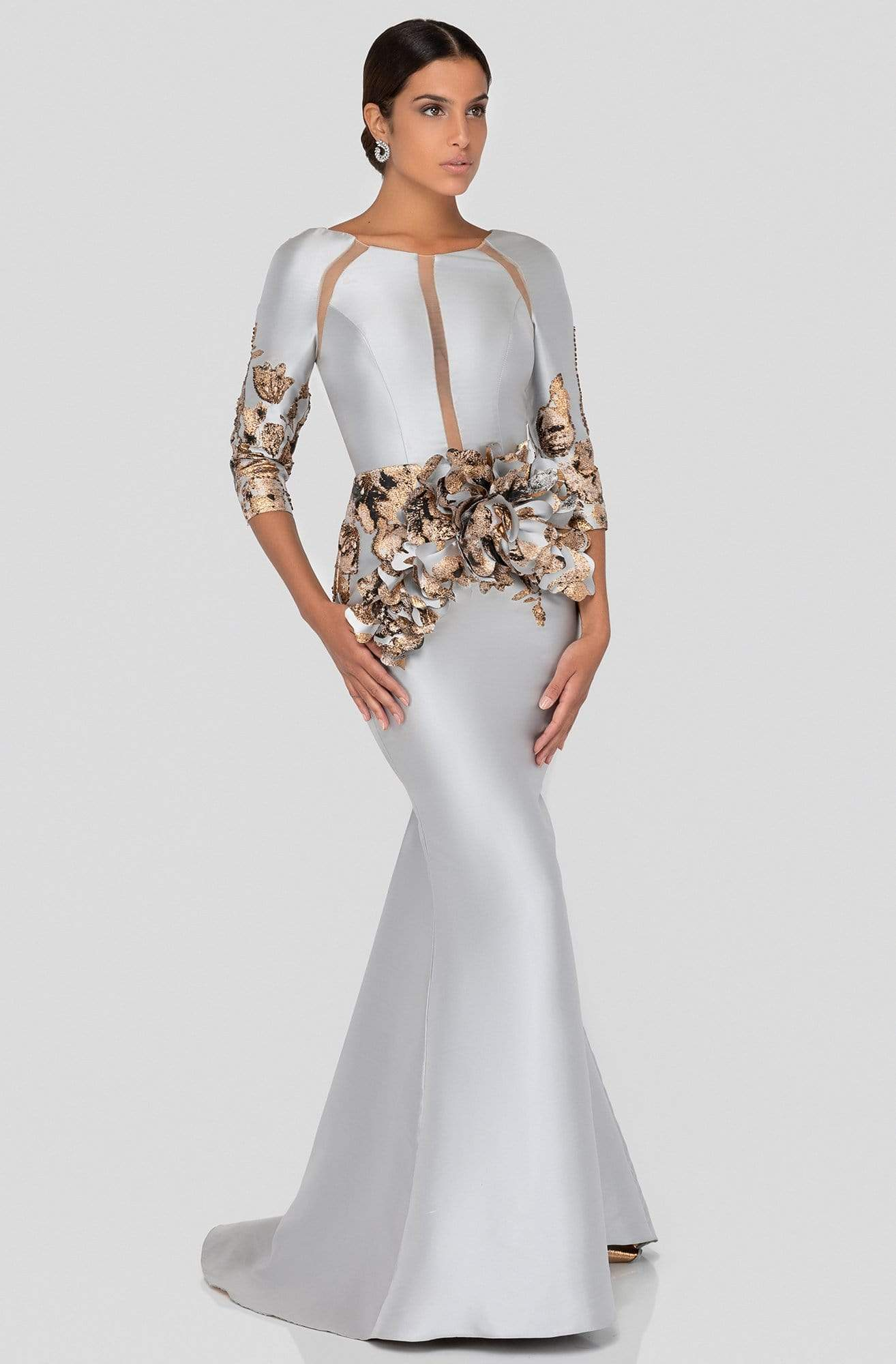 Terani Couture - 1911E9142 Cut-In Appliqued Mermaid Gown In Silver and Brown
