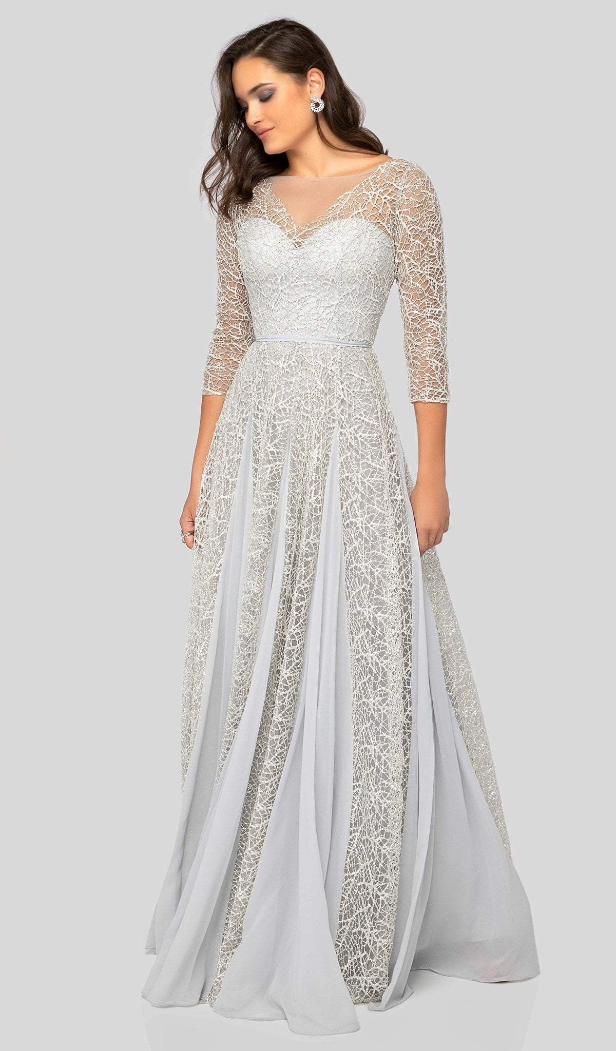 Terani Couture - 1911M9297 Illusion Bateau A-Line Evening Dress In White and Silver