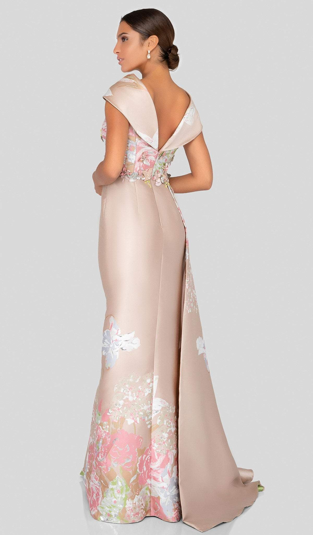 Terani Couture - 1911M9315 Floral Appliqued Cowl Evening Gown In Neutral and Silver