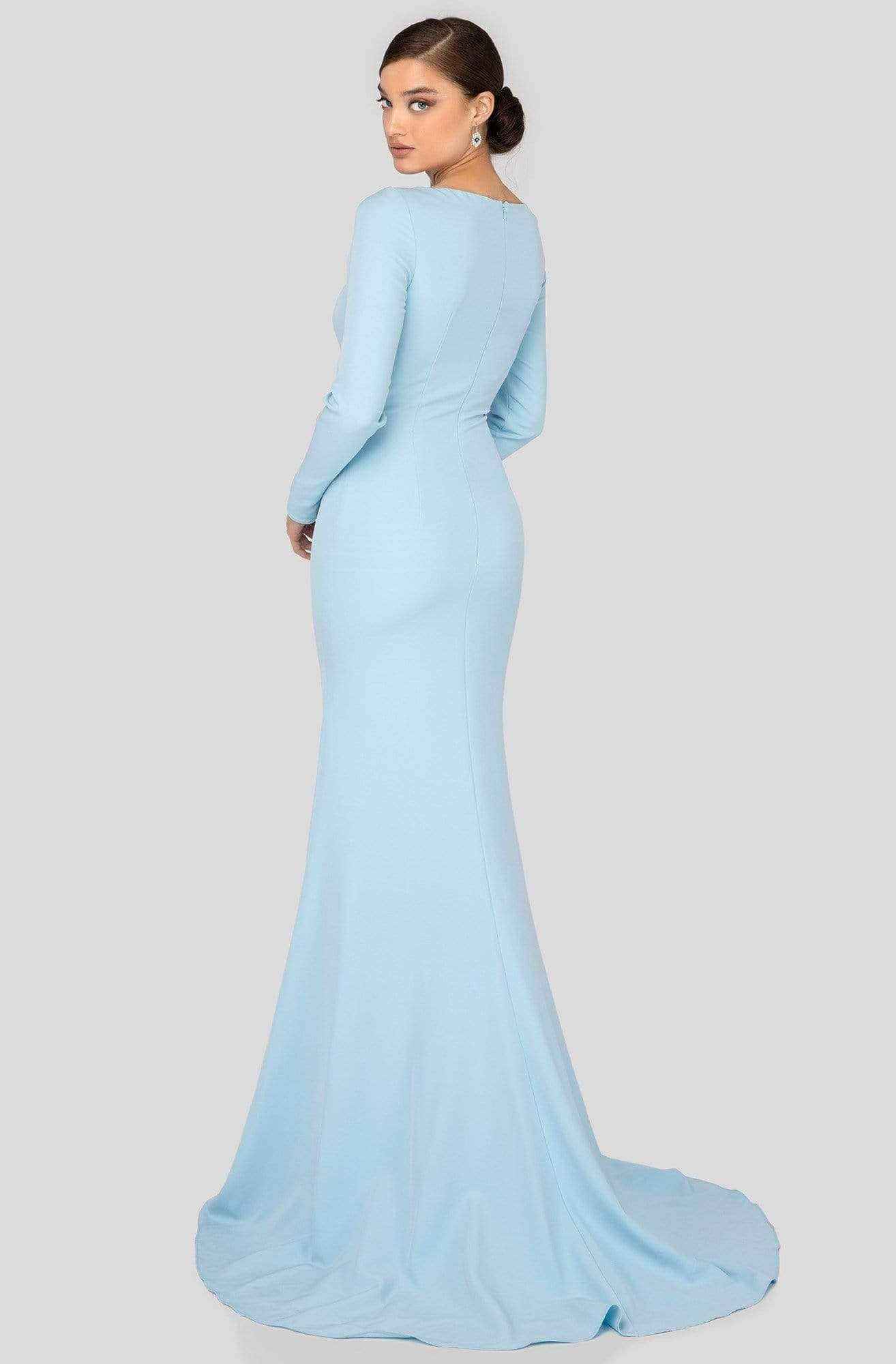 Terani Couture - 1911M9320 Asymmetric Neckline Long Sleeve Formal Gown In Blue