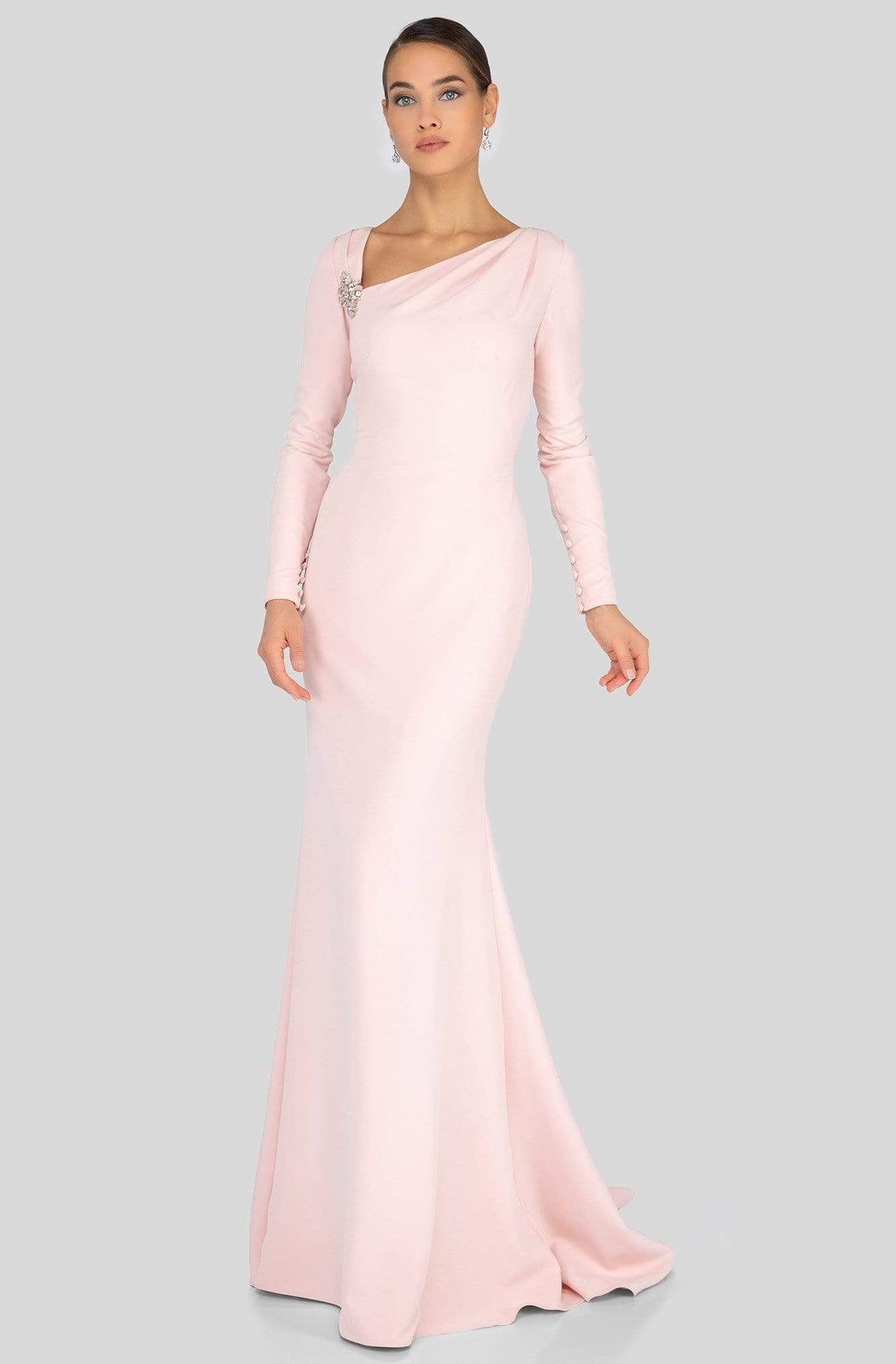 Terani Couture - 1911M9320 Asymmetric Neckline Long Sleeve Formal Gown In Pink