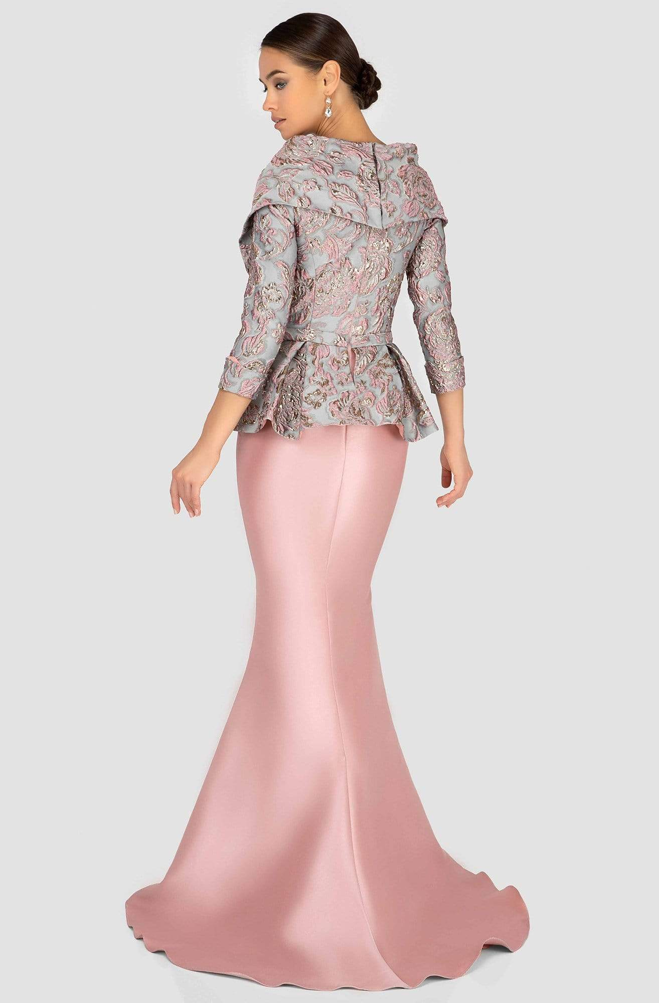 Terani Couture - 1911M9322 Embossed V-Neck Peplum Mermaid Gown In Pink and Gray