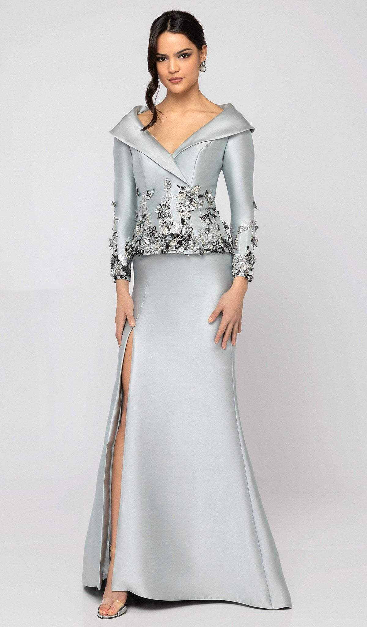 Terani Couture - 1911M9323 Beaded Floral Appliqued Trumpet Gown In Silver and Gray
