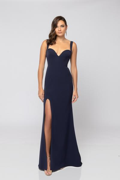 Terani Couture - 1911P8138 Deep Sweetheart High Slit Trumpet Gown In Blue