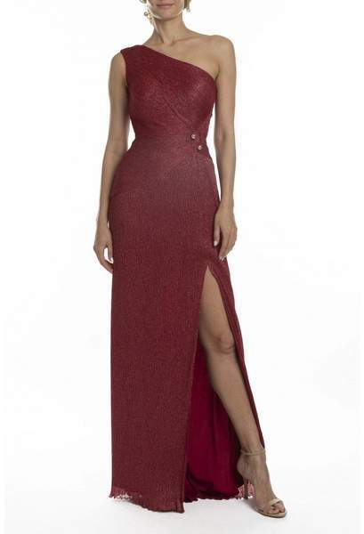 Terani Couture - One Shoulder Asymmetric Neck Evening Dress 1911E9610 In Red